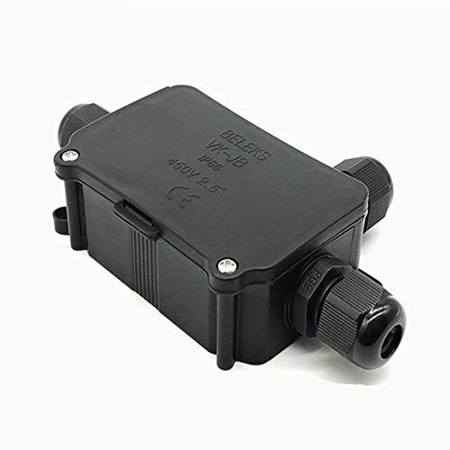 Conector de caja de conexiones impermeable para conexión de cable de receptáculo a tierra, resistente al agua, conectores de cable de 3 vías, caja de conexiones eléctricas externa/externa, color negro