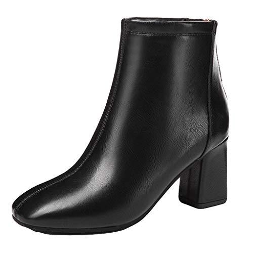 Realde Damen Blockabsatz Spitz Hohe Stiefel Retro Elegant Schwarz Beige Einfarbig Booties Schuhe Frau Stiefeletten Mit Reißverschluss Abendschuhe Sandaletten Hausschuhe Socken Stiefel