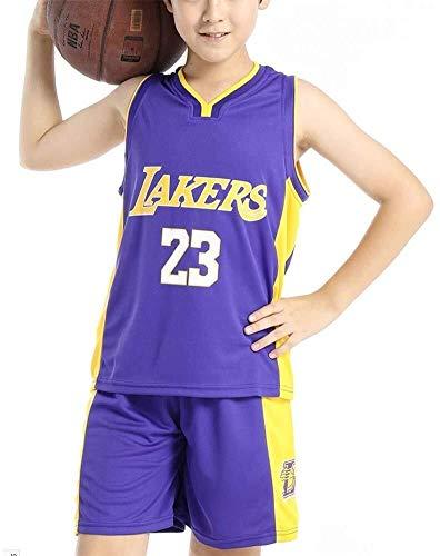 Shelfin Juego de uniforme de baloncesto para niños, camiseta de baloncesto de la NBA Lakers NO.23 James Fan Edition-Classic Basketball Swingman sin mangas (color: morado, tamaño: pequeño)