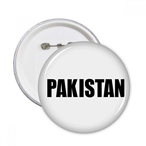 DIYthinker Pakistan Land Name Schwarz Runde Pins Abzeichen-Knopf Kleidung Dekoration 5pcs Geschenk Mehrfarbig XL