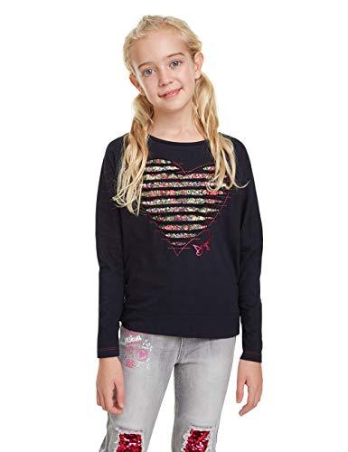 Desigual T-Shirt Preston Maglietta a Maniche Lunghe, Blu (Nave 5000), 14 Anni Bambina