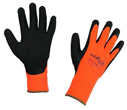 Kerbl 297381 PowerGrab Thermo Strickhandschuh Latex mit Acrylfutter Größe: 7, orange