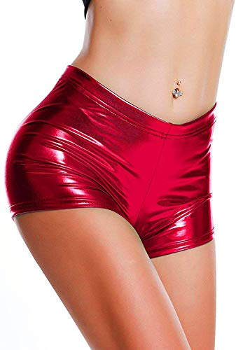 DODOING Damen Metallic Rave Booty Tanz Shorts Frauen Shiny Kurze Hosen Sommer Wetlook Hot Pants