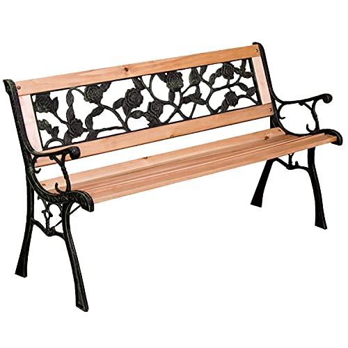 3 Seater Metal Garden Park Bench Outdoor Wooden Patio Furniture Cast Iron Chair (Eden)