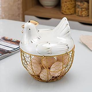 Panier oeuf créatif en forme de poule pour la décoration de la maison, la cuisine, le rangement d'œufs en métal, en cérami...