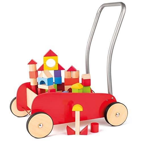 Hape International Woody Lauflernwagen aus Holz mit Bauklötzen edler Laufwagen ab 1