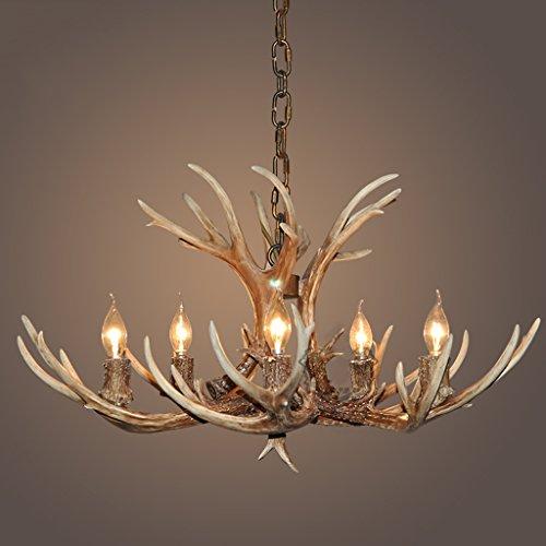 & Perfect ** - Vintage Hirsch Kerze Kronleuchter mit Harz Lampe 5, Arbeitszimmer/Büro, Esszimmer, Schlafzimmer, Kronleuchter Lounge Geweih Kronleuchter