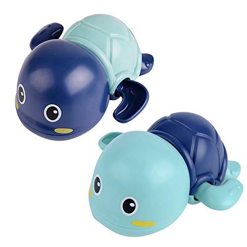 dili-bala Juego de 1 juguete de baño para bebés, tortuga de natación, flotantes para bañera, piscina, juguete de agua para niños y niñas (azul)