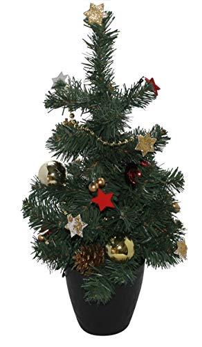 ARTECSIS Mini Weihnachtsbaum 45cm – Künstlicher Deko Weihnachtsbaum mit Beleuchtung Mini Tannenbaum geschmückt für Tisch und Büro