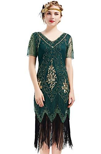 BABEYOND 1920s Art Deco Fringed Sequin Dress 20s Flapper Gatsby Costume Dress (Dark Green, Small)