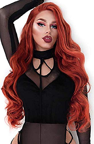 EEWIGS Red Wigs Lace Front Wig Synthetic Drag Queen Wigs Long Body Wave