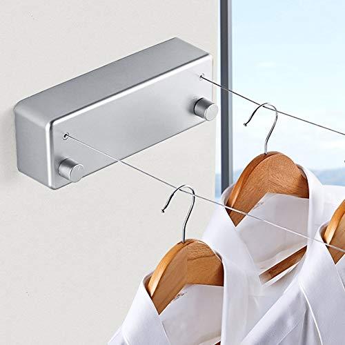 Pangding Tendedero retráctil - Tendedero portátil de Uso Pesado para Interiores y Exteriores - 13.1 pies - Líneas Dobles - Línea de Secado de Ropa para el