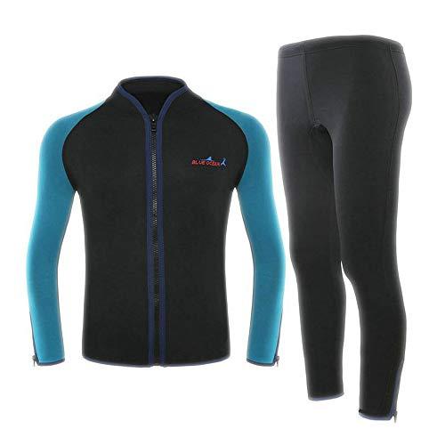 LYY 2MM Split Zweiteiler Neoprenanzug Schnorcheln Surfanzug, Neopren Anti-UV Quick Dry Rashguard, zum Surfen, Segeln, Tauchen - Damen Herren,B,M