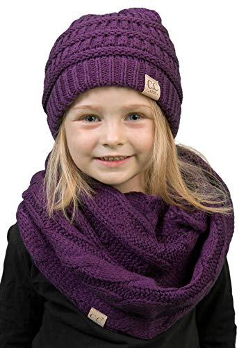 K1-3847-40 Kids Beanie & Scarf Bundle (NO POM): Purple