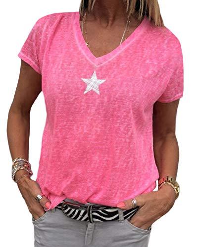 Minetom Femme Été Chic Col V Manche Courte T-Shirt Casual Étoile Star Imprimer Chemisier Blouse Élégant Mode Basique Hauts Tops Z Rose FR 42