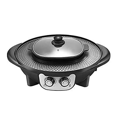 Kacsoo 2 in 1 Hot Pot Portable Smokeless Electric Grill, Fast-Cooking Non-Stick Griddle, Upgraded 2200W Electric BBQ Plate Indoor Outdoor Party, Intelligent Temperature Control, Easy to Clean, Black