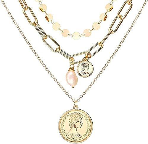 ZJJLWL Co.,ltd Necklace Necklace Multi Layer Lock Portrait Pendants Necklaces for Women Gold Metal Key Heart Necklace Jewelry Gift