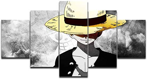 lenzuola one piece Refosian 5 Pezzi Dipinti su Tela per pareti HD Stampe Immagini Wall Art One Piece Rufy Dipinti Anime Poster Living Room Decor Modulare