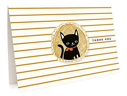 Black Cat Cartões de agradecimento, pacote com 6 da Night Owl Paper Goods