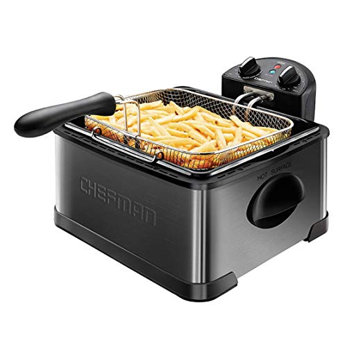 Chefman Deep Fryer with Basket Strainer, 4.5 Liter XL Jumbo Size Adjustable Temperature & Timer, Perfect Chicken, Shrimp, French Fries, Chips & More, Removable Oil Container, Black (Renewed)