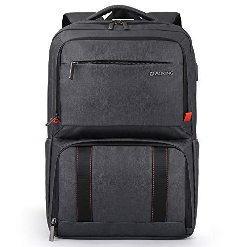 Aoking Isolierte Kühltasche Doppeldecker Lunchbox Herren Rucksack mit USB-Ladeanschluss passend für 39,6 cm (15,6 Zoll) Laptop für Uni, Business, Büro, Reisen