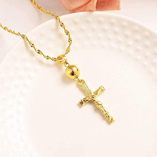 FACAIBA Necklace Gold Beads Cross Pendant Necklace Inri Jesus Crucifix Christianity Jewel 24k Gold Inbi Jesus of Nazareth King of The Jews