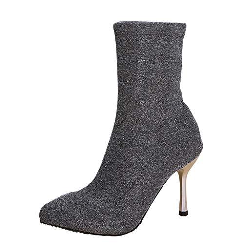 Supertong Damen Stiefeletten Stiletto High Heels Stiefel Mode Wildleder Elegant Pumps Frauen Winter Sexy Knöchellangen Spitz Thin Heels Ankle Boots mit Strass
