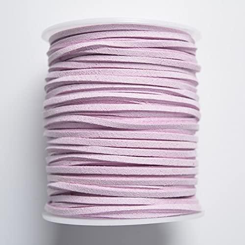 DANMO 50 Yardas Hilo Borla Material de Embalaje Cuerda Cordón de Cuero Plano para Collares Pulseras