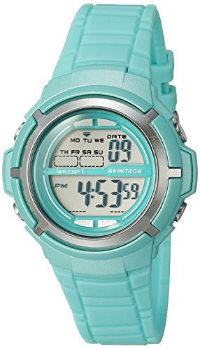 Armitron Sport Women's 45/7045TLGD Silver-Tone Accented Digital Teal Resin Strap Watch
