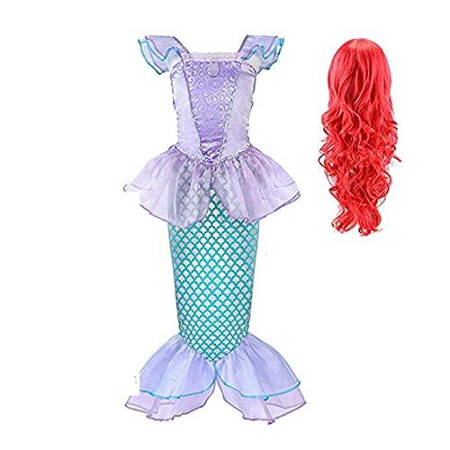 FINDPITAYA Niñas La Sirenita Vestido de Princesa Ariel Niños Disfraz Cola de Pescado Fiesta de Noche Larga Cosplay Costume con Peluca (5-6 años)