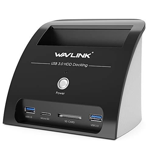 WAVLINK USB 3.0 Base de Conexión Docking Station a SATA para Discos Duros SSD de 2.5 y 3.5 con Lector de Tarjetas y Concentrador de 2 Puertos USB 3.0-[Admite UASP y hasta 10TB]