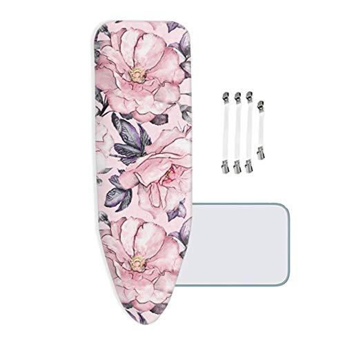 MKMKM Housse de Planche à Repasser, très Grande Taille, XL/XXL, 100% Coton, avec Rembourrage en Feutre épais de 5 mm, adapté aux fers à Vapeur, Fleurs Roses - 160x60cm