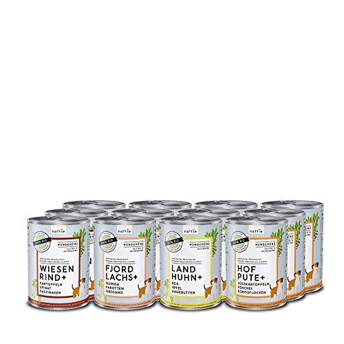 naftie Bio Hundefutter Mischpakete | purinarmes Nassfutter Menüs Spar-Pakete mit 4 Sorten | Glutenfrei | 35% Fleischgehalt | ideal für Sensible & Senior Hunde | proteinarm fettarm | 12x400g