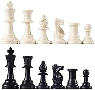 Chess 32 Medieval Chess Pieces/Plastic Complete Chessmen Chess International Word Chess Game Entertainment Black&White 64M...