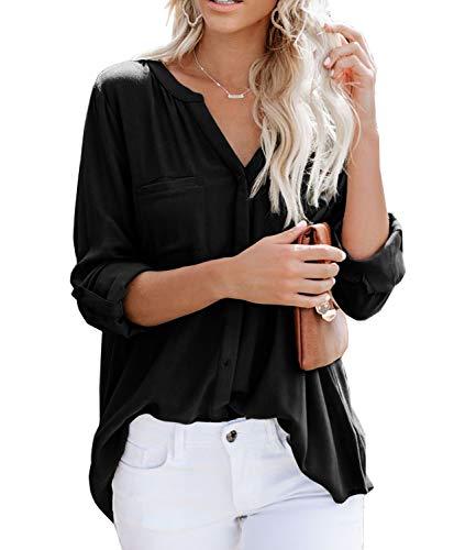 Ehpow Damen Langarm V-Ausschnitt Bluse Einfarbig Casual Button Down Oberteile Shirts(Small,Schwarz-1)