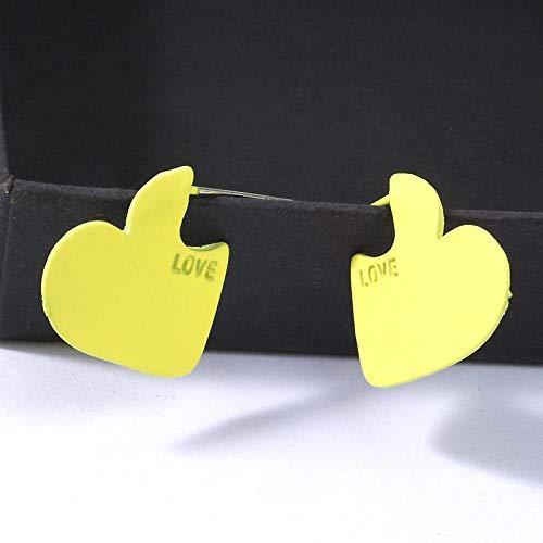 XAOQW Pendientes Amarillos de Mujer Pendientes de Boda Dulces Coreano geométrico diseño en Forma de corazón -EK1423