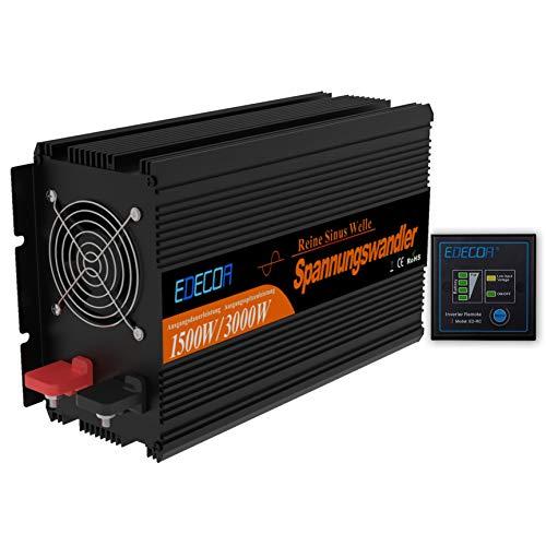 EDECOA Wechselrichter 12v 230v Reiner Sinus 1500w Spannungswandler mit Fernbedienung