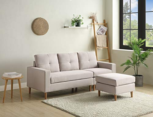 L Shape Corner Sofa Settee, Modern Fabric Classic L-Shape Cushion 3 Seater Sofa with Wood Legs Lounge Ottoman for Living Room Lounge, Left & Right Hand Side (Beige)