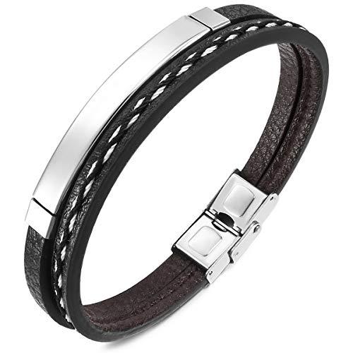 MunkiMix Edelstahl Leder Armband Manschette Armreifen Silber Ton Schwarz Herren,Damen
