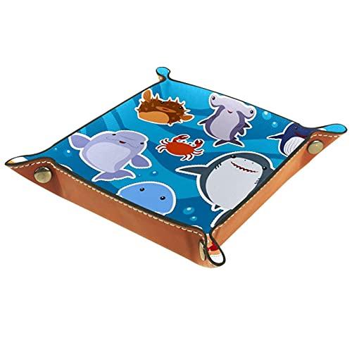 Placa de almacenamiento de escritorio con animales de mar lindos para hombres Key Wallet monedero viaje