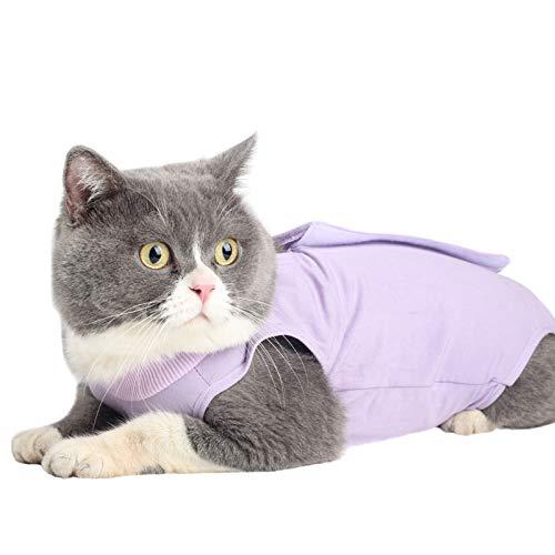 Cat Surgery Recovery Kit Bauchwunde oder Hautkrankheit, E-Collar Ersatz, postoperative Kleidung, professionelle Heimtierbekleidung (L, Lila)