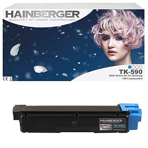 Hainberger Toner für Kyocera TK590 Cyan für ECOSYS M6526cdn / FS-C5250DN / ECOSYS P6026cdn / FS-C2126MFP / ECOSYS M6026cdn / FS-C2026MFP / FS-C2626MFP / ECOSYS M6526cidn / FS-C2526MFP / ECOSYS M6026cidn