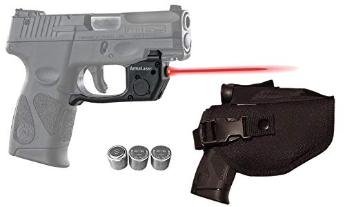 Laser Kit for Taurus PT111 / PT140 Millennium G2 / G2S / G2C / G3 / G3c w/Tactical Holster, Touch-Activated ArmaLaser TR23 Red Laser & 2 Extra Batteries