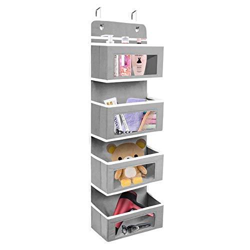 sutinban Organizador colgante con 4 bolsillos transparentes, plegable, para juguetes, toallas, revistas, sombreros, color gris transparente 4