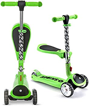 SKIDEE Adjustable Height Foldable Scooter with Removable Seat