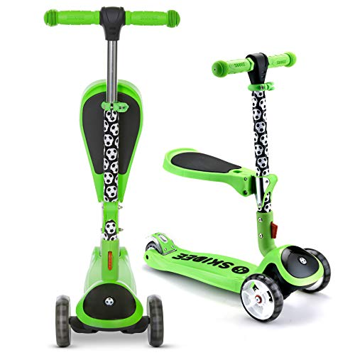 SKIDEE Scooter for Kids with Foldable and Removable Seat – Adjustable Height, 3 LED Light Wheels, USA Brand 3 Wheels Kick Scooter for Girls & Boys 2-12 Years Old - Y200 (Soccer)