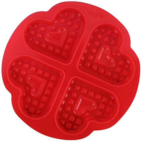DIY Waffle Waffle Mold Model Antiadherente Cocina Accesorios para Hacer Pasteles Herramienta para Hornear Caliente 4 Corazones Rojos Waffle Mold (Rojo)