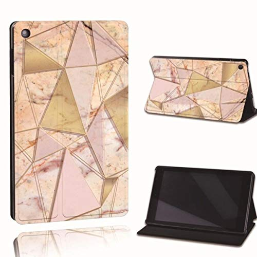 Leather Tablet Stand Folio Cover-Ultra-Thin Tablet Stand Case for Amazon Fire 7 5/7/9th Fire HD 8 10 Alexa Printed,9.Pink Gold Triangle,Fire 7 5th 7th 9th