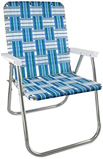 Lawn Chair USA Webbing Chair (Deluxe, Sea Island with White Arms)