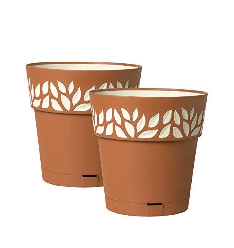 Kreher 2 Stück Pflanztöpfe CLOE Hochwertiges 3D-Design in leicht Matter Ausführung mit integrierten Wasserspeicher (L, Terrakotta)